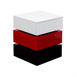 Tri-Color 2 Drawer Storage Accent Table