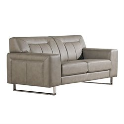 Diamond Sofa Vera Faux Leather Loveseat with Metal Leg in Sandstone