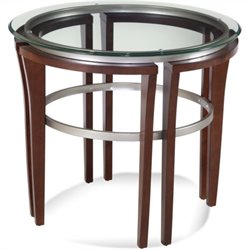 Bassett Mirror Fusion Round Glass Top End Table in Cappuccino
