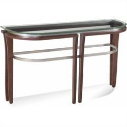 Bassett Mirror Fusion Glass Top Console Table in Cappuccino