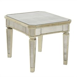 Bassett Mirror Borghese Mirrored Rectangle End Table in Silver