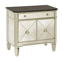 Bassett Mirror Borghese Small Mirrored Accent Chest in Silver