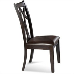 Bassett Mirror Elation  Back Upholstered Leather Seat  Dining Chair (Set of 2)