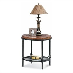 Bassett Mirror Bentley Round End Table with Inset leather in Tobacco
