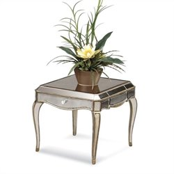 Bassett Mirror Collette Mirror Panel Rectangular End Table in Gold