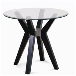 Bassett Mirror Exclamation Round Glass Top End Table in Espresso