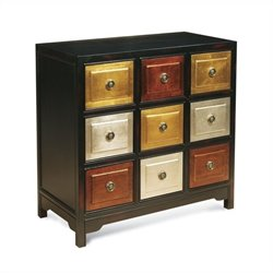 Bassett Mirror Tic-Tac-Toe Accent Chest in Black and Red Rub