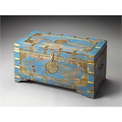 Butler Specialty Artifacts Storage Trunk Coffee Table in Blue