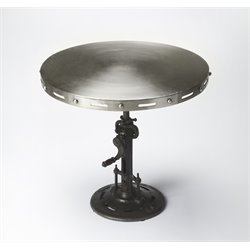 Butler Specialty Industrial Chic Round Pub Table in Silver