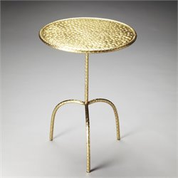 Butler Specialty Industrial Chic Founders Pedestal Table in Brass