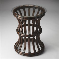 Butler Specialty Butler Loft Antigua End Table in Glass and Rattan