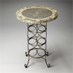 Butler Specialty Metalworks Markham End Table in Iron and Fossil Stone