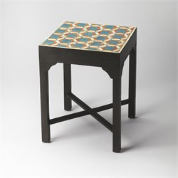 Butler Specialty Bone Inlay Bishop End Table in Teal
