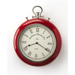 Butler Specialty Hors Doeuvres Scarlet Wall Clock in Red and Nickel