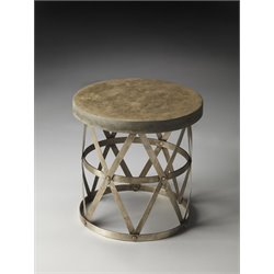 Butler Specialty Industrial Chic Round Accent Table in Gray