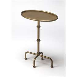 Butler Specialty Metalworks Oval Pedestal Table in Antique Gold