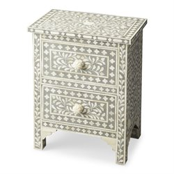 Butler Specialty Bone Inlay 2 Drawer Nightstand in Gray Bone Inlay