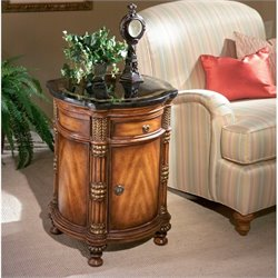 Butler Specialty Heritage Drum End Table with Fossil Stone Top