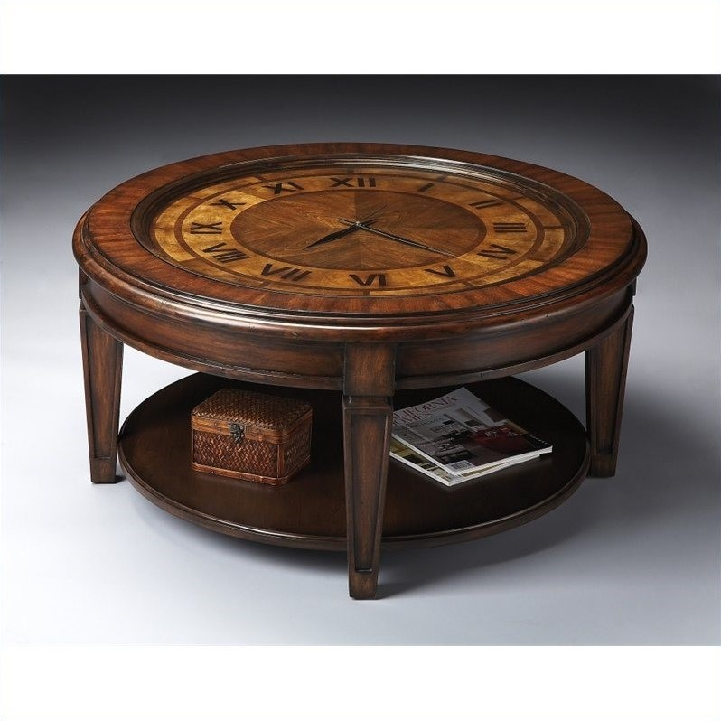 Butler Specialty Clock Cocktail Table in Heritage Finish