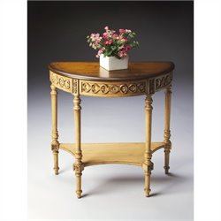 Butler Specialty Demilune Console Table in Pine n' Cream