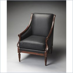 Butler Specialty Wexford Accent Chair in Black Leather