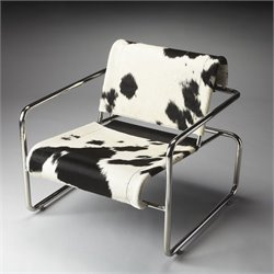 Butler Specialty Fabric Accent Arm Chair in Black and White Animal Pattern
