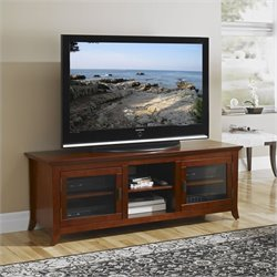 62 Inch TV Stand Credenza in Walnut Finish