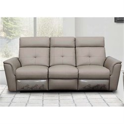ESF Leather Reclining Sofa in Gray