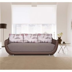 Euro Style Boston Pull Out Sofa in Gray Brown