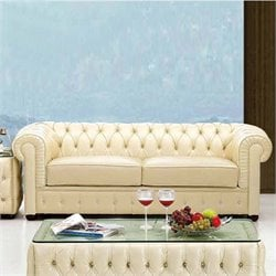 ESF Style Leather Sofa in Creamy White