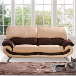 ESF Style Leather Sofa in Beige and Brown