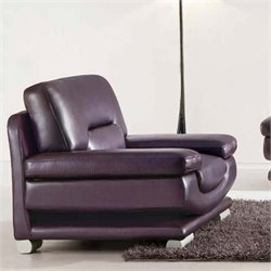 ESF Style Leather Club Chair in Dark Purple and Brown