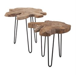 IMAX Corporation Baltra 2 Piece Teak Wood Nesting Table Set in Brown