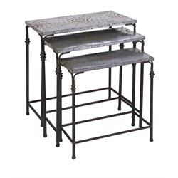 IMAX Corporation Gilbert 3 Piece Galvanized Nesting Table Set in Gray