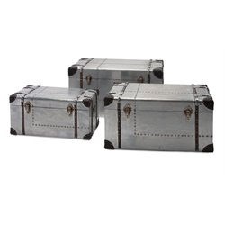 IMAX Corporation Brewer 3 Piece Aluminum Trunk Set in Gray