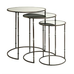 IMAX Corporation Flouressa 3 Piece Mirrored Nesting Table Set in Brown