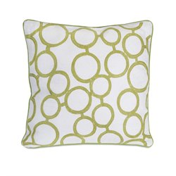 IMAX Corporation Green Rings Decorative Pillow in White