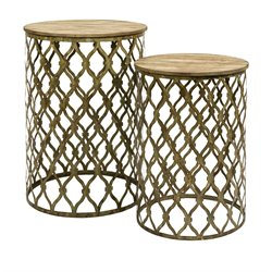 IMAX Corporation Maridell 2 Piece Nesting Table Set in Gold