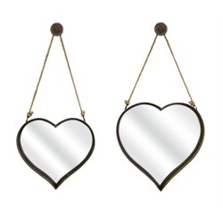 IMAX Corporation Heart 2 Piece Shape Accent Mirror Set in Brown