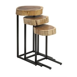 IMAX Corporation Nadera 3 Piece Nesting Table Set in Brown