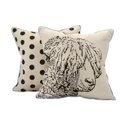 IMAX Corporation Sampson Sheep Embroidered Decorative Pillow in Beige