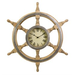 IMAX Corporation Wood Ship Wheel Clock