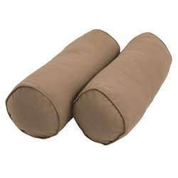 Blazing Needles 2 Piece Solid Corded Bolster Cushion Set