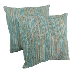 Blazing Needles 20 inch Throw Pillows in Aqua Blue and Beige (Set of 2)