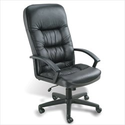 Boss Office Products Leather High Back Executive Chair in Black