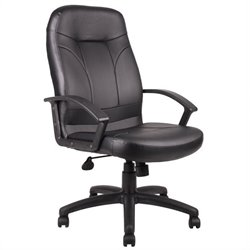 Executive High Back Leather Office Chair in Black