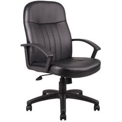 Leather Contemporary Executive Office Chair in Black