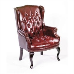 Guest Leather Accent Chair in Red