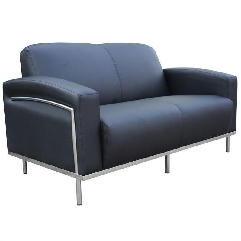 Black Caressoft Plus Love Seat with Chrome Frame