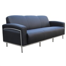 Black Caressoft Plus Sofa with Chrome Frame